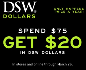 DSW Spend $75, Get $20